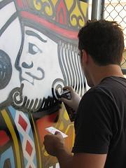 Artist Tim Conlon at work. Photo by Shyree Mezick.